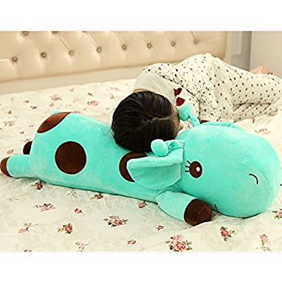 ChezMax Cute Giraffe Soft Plush Throw Pillow Pet Cushion Animal Toy Gift for Kids Green 23.6