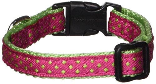 East Side Collection Nylon Polka Dot Dog Collar, 6-10-Inch, Raspberry