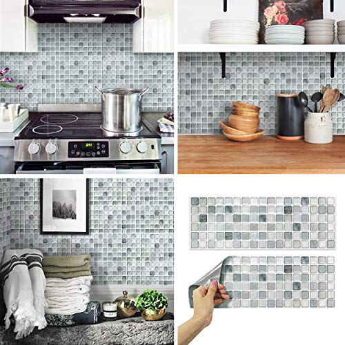 BEAUSTILE Decorative Tile Stickers Peel Stick Backsplash Fire Retardant Tile Sheet Monocrome 2 528quot x 148quot