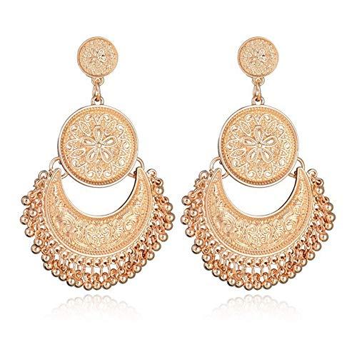 (AILUOR Bohemian Ethnic Chandelier Tassel Hoop Earrings, Vintage Retro Style Fringes and Floral Tassels Brocade Lotus Mexico Gypsy Drop Dangle Earring Women Girls Jewelry (Gold))