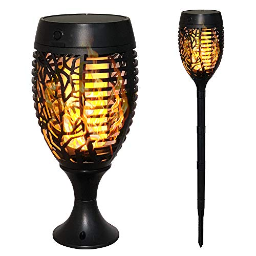 Petrala 4 Pack Solar Torch Lights Outdoor Dancing Flickering Flames USB Charging Upgrade Height Rechargeable 96 LEDs Decorative Dusk to Dawn Torches Table Lighting for Deck Patio Garden Wall by Petrala