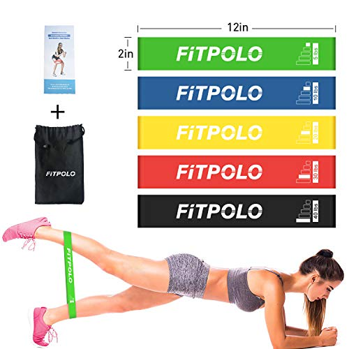 (Fitpolo Resistance Loop Bands Exercise Bands for Home Fitness Set of 5 Exercise Loops Workout Bands for Crossfit Stretching Strength Training Physical Therapy Pilates Flexbands)