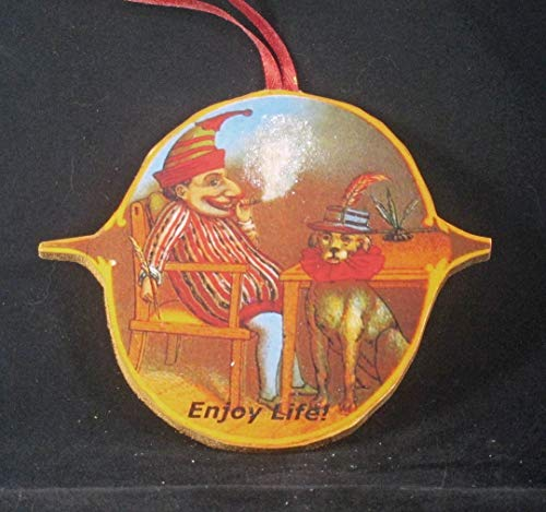 Punch and Judy Christmas Ornament, Handcrafted Wood, Dog Toby, Puppet Theater, Husband Gift, Marionettes, Jester's Hat, Stage, Cigar Smoke