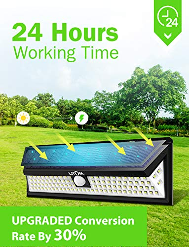 LITOM Enhanced 102 LED Super Bright Solar Lights Outdoor, Solar Motion Sensor Lights with 270°Wide Angle, IP65 Waterproof, Easy-to-install Security Lights for Front Door, Yard, Garage, Deck(2 Pack) by Litom (Image #3)