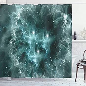 Space Decor Shower Curtain by Ambesonne, Outer Space Nebula in the with Crystal Star Cluster Galaxy Solar System Cosmos Print Artwork, Polyester Fabric Bathroom Set with Hooks, 69 X 70 Inches, Teal