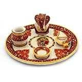 Balaji Arts Marble Gold Painted Lord Ganesha Idol Pooja Thali for Home Décor