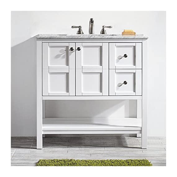 "Vinnova 713036-WH-CA-NM Florence 36"" Vanity in White with Carrera Marble Countertop Without Mirror, Inch - Solid Oak Wood with Laminated Veneer Panels Lends eclectic flair to any bathroom decor Ample space for toiletries - bathroom-vanities, bathroom-fixtures-hardware, bathroom - 51EWvxk YlL. SS570  -"