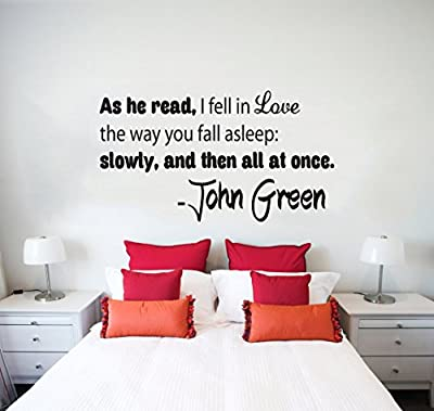 Wall Decals Quotes Vinyl Sticker Decal Quote John Green As he read I fell in love Phrase Home Decor Bedroom Art Design Interior NS77