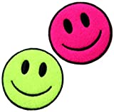 [2 Count Set] Custom and Unique (2.25'' Inch) Round ''Funny'' Bright Happy Smiley Face Rave Accessory Design Iron & Stick On Adhesive Embroidered Applique Patch {Neon Green, Pink & Black Colors}