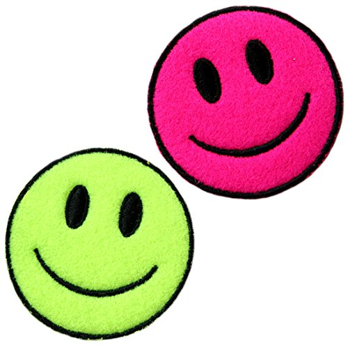 [2 Count Set] Custom and Unique (2.25'' Inch) Round ''Funny'' Bright Happy Smiley Face Rave Accessory Design Iron & Stick On Adhesive Embroidered Applique Patch {Neon Green, Pink & Black Colors} by mySimple Products