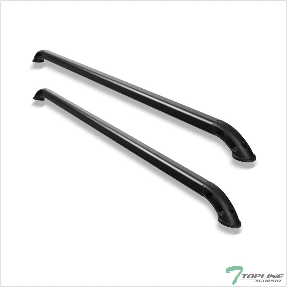 Topline Autopart Matte Black Nylon B Locker Style With Square Shaped Tube Truck Bed Side Rails FRC For 04-14 Ford F150 8 Ft 96 Long Bed