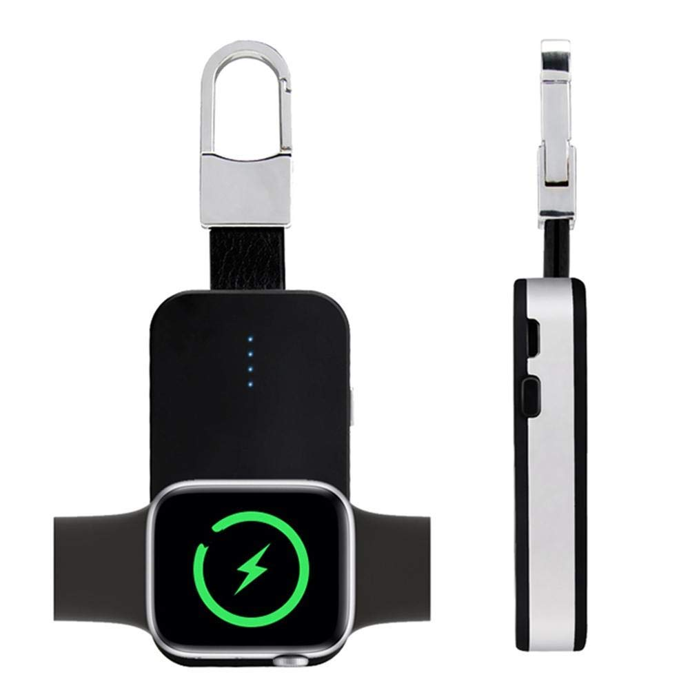 Portable Wireless Smart Watch Charger Magnetic - Built in 1000 mAh Power Supply for All iWatch Series 4 3 2 1 Nike,Pocket Sized Key Ring Design with ...