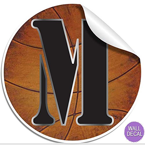 "Wall Letters ""M"" Basketball Letter Stickers Alphabet Initial Vinyl Sticker Kid Decals Children Room Decor Baby Nursery Boys Bedroom Decorations Child Names Personalized Decal Graphic Sports Balls Girl"