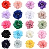 20pcs 2'' Multi Colors Chiffon Flower with Rhinestone Baby Girls DIY Headbands Accessories Wedding Ornament Clothes Decoration Appliques Handmade Decorative. (Multi Rhinestone Chiffon Flower)
