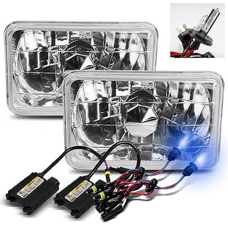 """4X6/"""" 10K HID Xenon H4 Glass Black Headlight Conversion w// Bulbs Pair Chevy"""