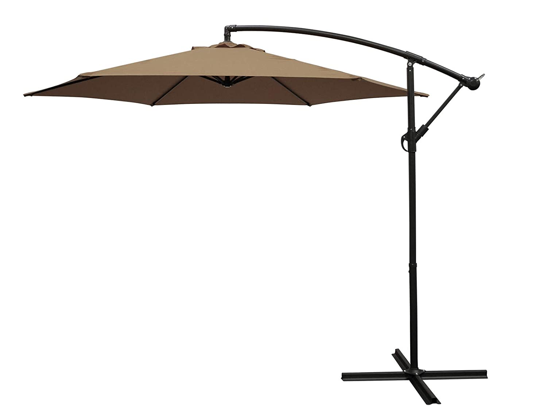 DEGAMO Ampelschirm 300cm taupefarben mit Ständer, Gestell Aluminium, UV Schutzfaktor 50+