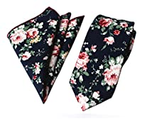 Secdtie Men's Skinny Handkerchief Tie Cotton Floral Necktie & Pocket Square Set