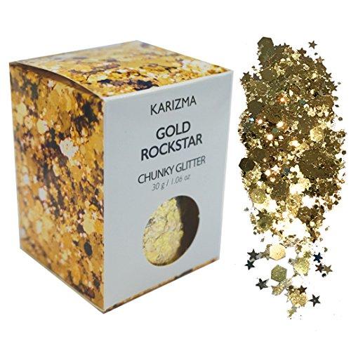 Gold Rockstar Chunky Glitter ✮Large 30g Jar COSMETIC GLITTER ✮ Festival Face Body Hair Nails by KARIZMA (Image #8)