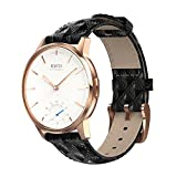 Newatch Hybrid Smartwatch Women's Activity and Sleep Tracking Watch with Call/Message Vibration 50M Waterproof Black Leather Band
