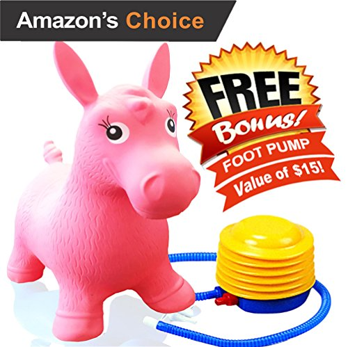 ToysOpoly Inflatable Horse Bouncer - Cutest Ride-on Bouncy Animal Hopper for Kids with Best Eco-friendly Rubber - Compatible with Gymnic Rody Toys: Bouncing Reindeer, and Hopping Ball (Pink) (Slam Dunk Stuffed Animal)