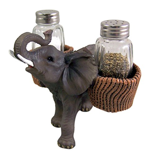 (Spice Carrying Elephant Salt and Pepper Shaker Holder 4 3/4 Inch (Shakers Included))
