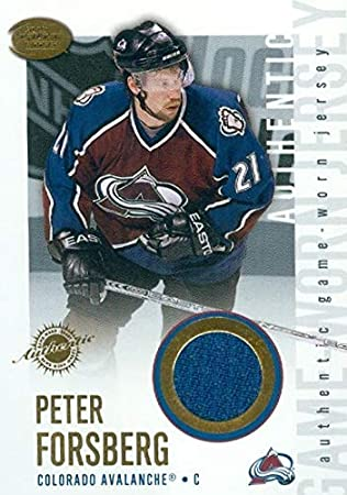 Peter Forsberg player worn jersey patch hockey card (Colorado Avalanche)  2003 Pacific  7 b4ad9ff4a