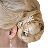 Aukmla Bridal Wedding Hair Pins for Women and Girls (Pack of 3)