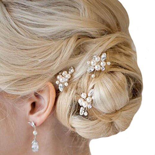 Aukmla Wedding Hair Pins Bridal Headpiece for Women and Girls (Pack of 3) (Gold)