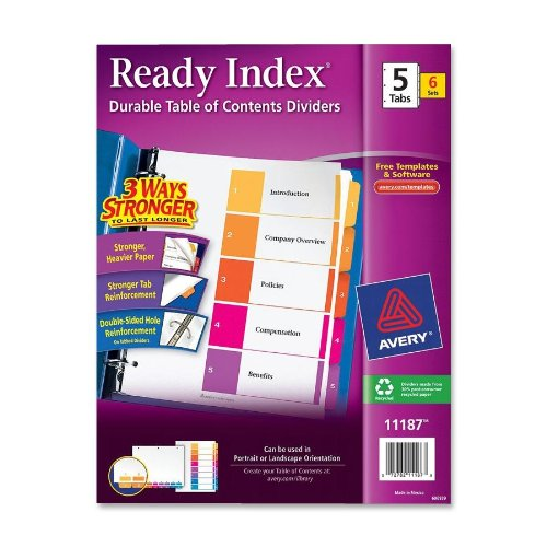 Avery - Ready Index Contemporary Contents Divider, 1-5, Multicolor, Letter, Six Sets - Pack of 20