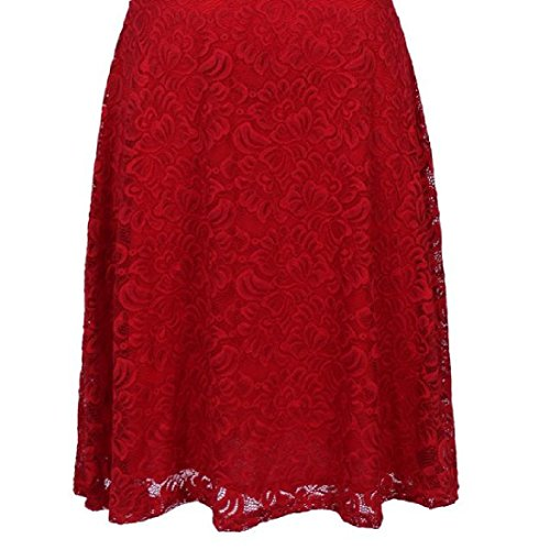 Coolred-femmes Grand Ourlet Amincissent Solide Manches Courtes Rouge Robe Accepte De Taille
