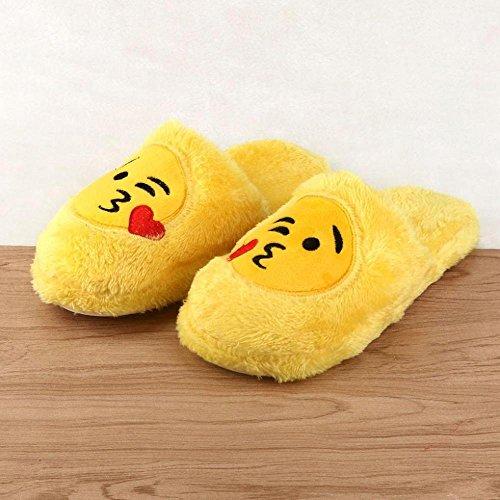 Indoor Slippers, FTXJ Mens Women Emoji Warm Soft Stuffed Household Floor Shoes B