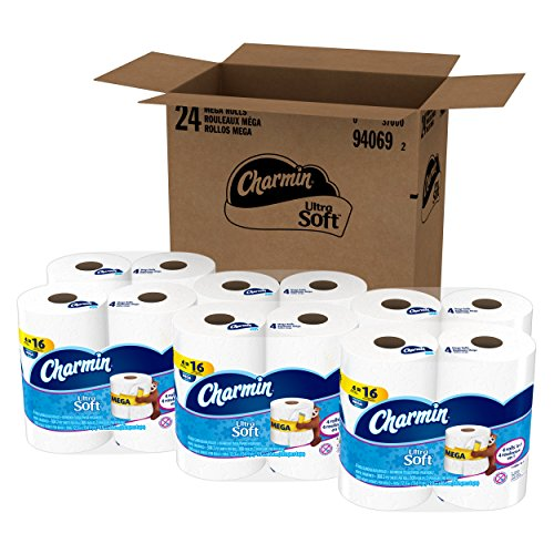 Charmin Ultra Soft Toilet Paper, Bath Tissue, Mega Roll, 24 Count>