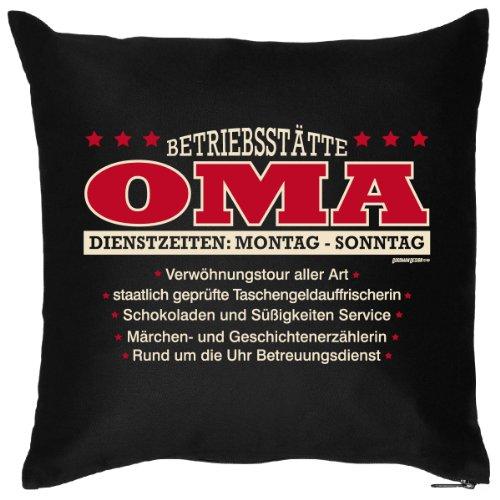 Lustiges Kuschelkissen Dekokissen mit Aufdruck für die Oma - Lustiges Kissen - Betriebsstätte Oma - Dienstzeiten /Goodman Design