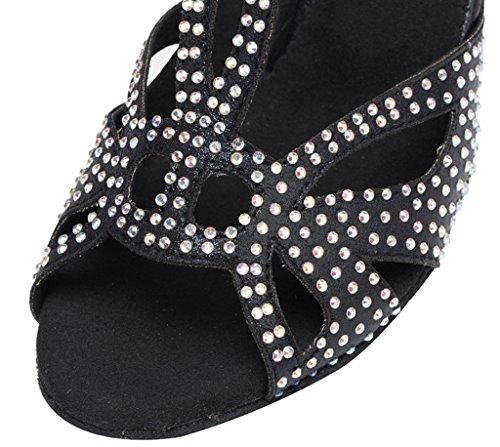 Ballroom Sparkle Stylish Peep Tango Toe Rhinestones Womens Black Morden Professional Salsa Flannelette Sandals Dance CRC Latin Wedding Party Ix1pw0n