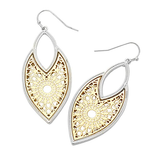 Rosemarie Collections Women's Two Tone Statement Dangle Earrings Moroccan Filigree (Gold and Rhodium)