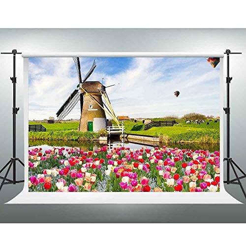 (GESEN Natural Landscape Backdrop 10x7ft Colorful Flowers Hot Air Balloon Dutch Windmill Photography Backdrop for Themed Party You Tube Background Photo Booth Studio Props PGE349)