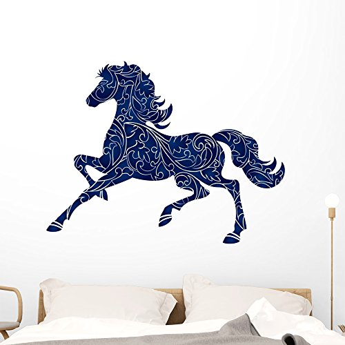 Christmas Filigree Cards (Wallmonkeys Blue Filigree Horse Wall Decal Peel and Stick Animal Graphics (48 in H x 48 in W) WM33655)