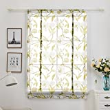 Green Floral Printed Window Curtains Transparent Voile Curtain for Home Door Kitchen Office Decoration Modern Tulle