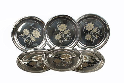 ROYAL SAPPHIRE Stainless Steel Dinner Plates| Round Plates Set of 6 Piece| Engraved Floral Art | Camping Outdoor Plate| BPA Free (6-Pack) (L (12.0