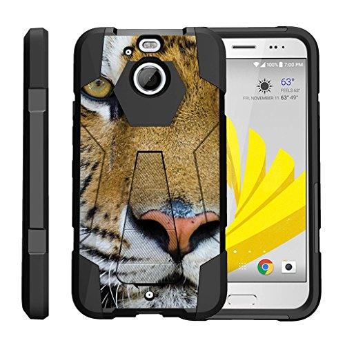 TurtleArmor | HTC Bolt Case | HTC 10 Evo Case [Dynamic Shell] Hybrid Duo Cover Impact Shock Silicone Kickstand Hard Shell Animal Design - Tiger Stare (For Htc 4g Evo Lte Case Girls)