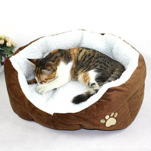 Fleece Nest Dog Bed - Pet Dog Cat Bed Soft Warm House Fleece Nest Large Puppy Cushion Coffee 24