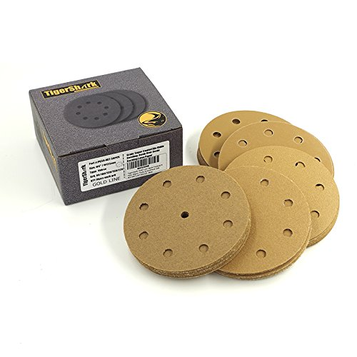 TigerShark 5 Inch 9 Hole Sanding Discs Grit 80/100/120/150/220 Assortment 50pcs Pack Special Anti Clog Coating Paper Gold Line Hook and Loop Dustless Random Orbital Sander Paper Coarse ()