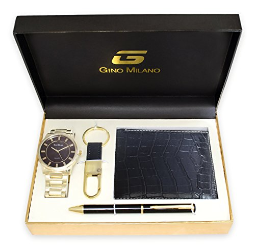 (Men's Gold Watch Gift Set With Wallet, Pen & Key Chain (Brown Dial))