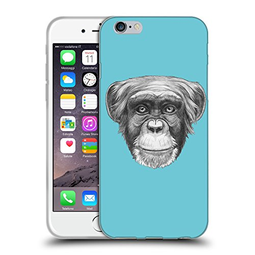 GoGoMobile Coque de Protection TPU Silicone Case pour // Q05170627 Dessin singe Cyan // Apple iPhone 7