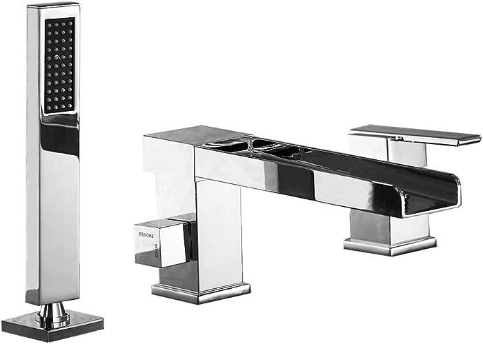 Artbath 3-Hole Bathroom Waterfall Bathtub Faucet Roman Tub Filler with Handheld Shower Waterfall Spout Tub(Chrome)