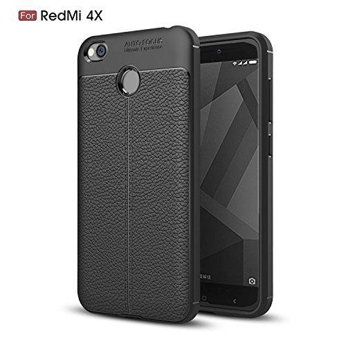 Maccesories Funda Xiaomi Redmi 4X Tipo Piel, Business, Elegante, Shock-Absorción, Carcasa Bumper, Anti-Arañazos, Negro