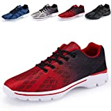 Men's Lightweight Breathable Running Tennis Sneakers Casual Walking Shoes (US 12/EU 46, Red)