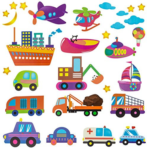 n Theme Peel & Stick Kids Wall Decal - Colorful Decorative Nursery Stickers of Cars Plane Boat and Construction Vehicles (Vinyl Decal Car Boat)