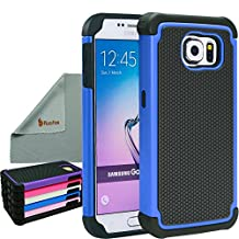 Rasfox® Samsung Galaxy S6 Case Cover, Shock-Proof Tough Heavy-Duty Protective Armor Case Skin Cover For Samsung Galaxy S6 (Not Fit For S6 Edge) (Black/Blue)