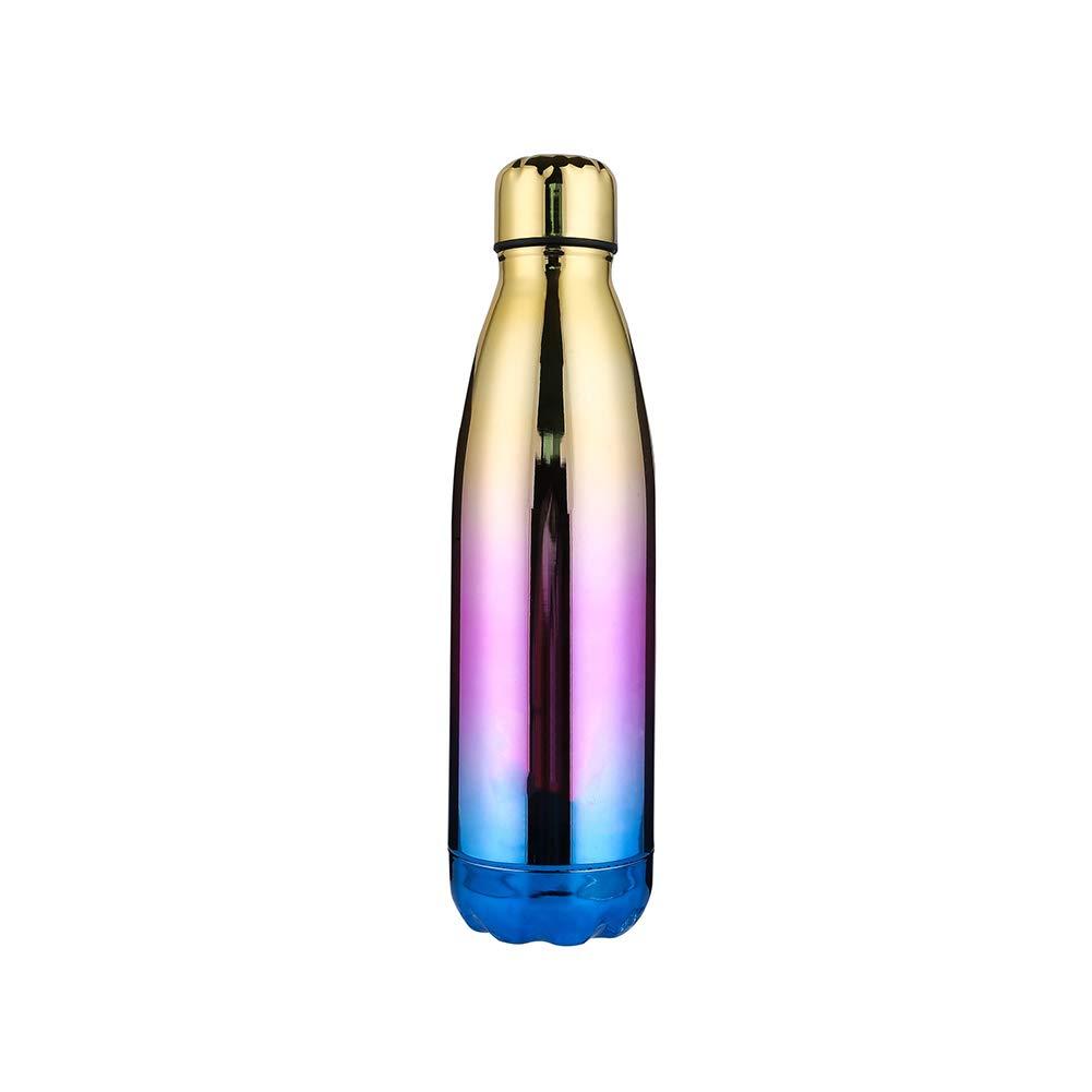 Botella de Agua de Acero Inoxidable de vacío de 500 ML con Aislamiento del Color del gradiente Taza de Agua de Doble Pared para Acampar Correr Ciclismo Conducción Viajar (Amarillo Degradado) 1PC
